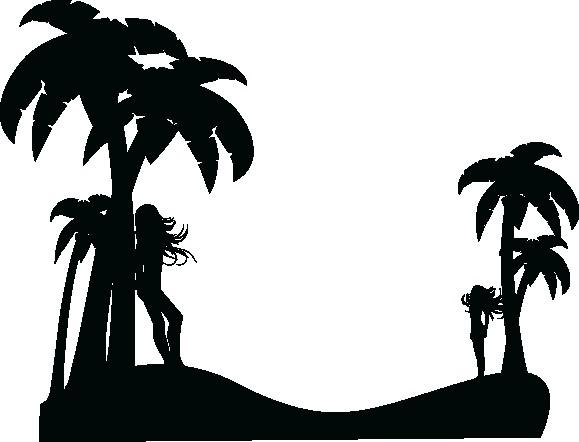 Наклейка «Пальмы и девушки»