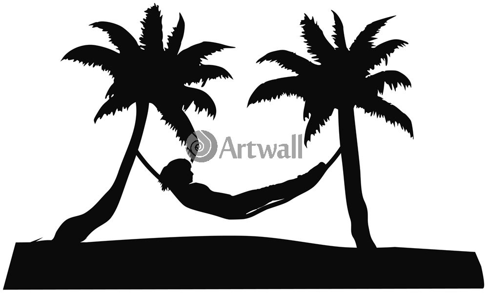 Наклейка «Пальмы и гамак»Деревья<br><br>