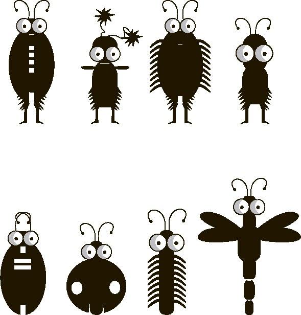 Наклейка «Восемь насекомых»Детские<br><br>