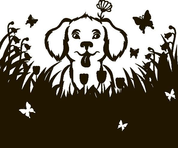 Наклейка «Пёс среди цветов»Детские<br><br>