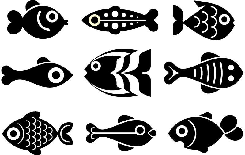 Наклейка «Девять рыбок»Для ванны, туалета<br><br>