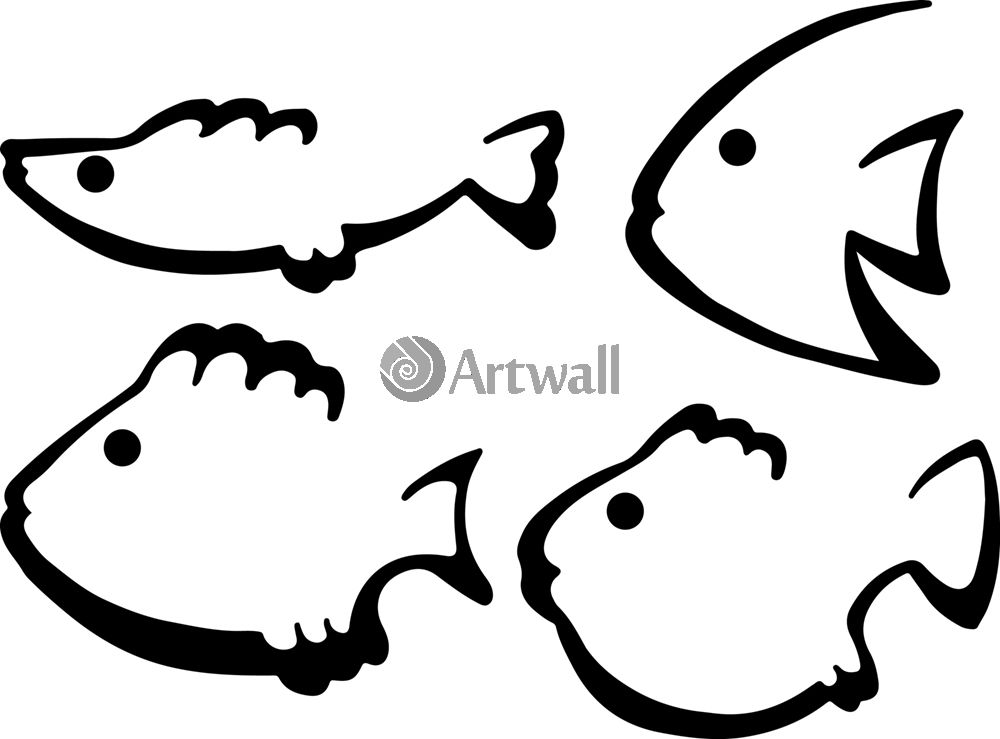 Наклейка «Четвёрка рыбок»