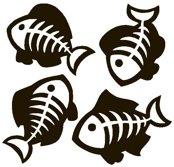 Наклейка «Рыбки-скелетики»Для ванны, туалета<br><br>
