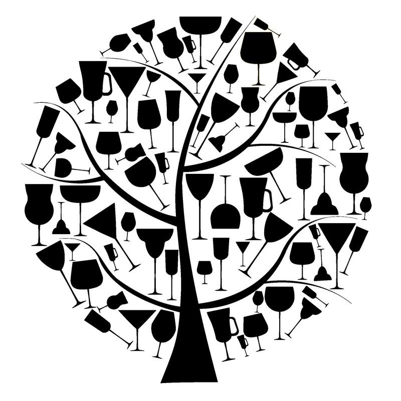 Наклейка «Бокалы на дереве»Для кухни, столовой<br><br>