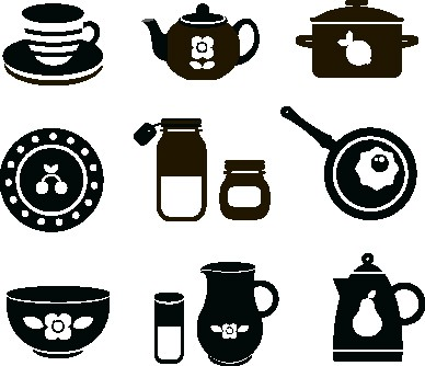 Наклейка «Посуда»Для кухни, столовой<br><br>