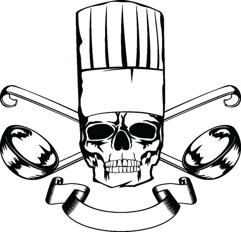 Наклейка «Повар-скелет»Для кухни, столовой<br><br>