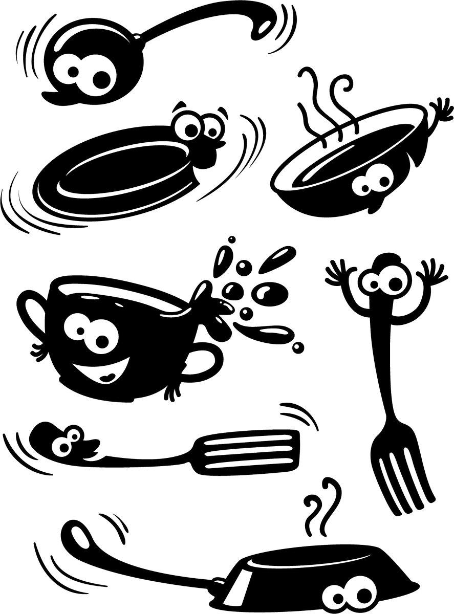 Наклейка «Безумство на кухне»Для кухни, столовой<br><br>