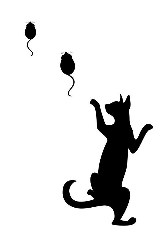 Наклейка «Кошка бегает за мышами»