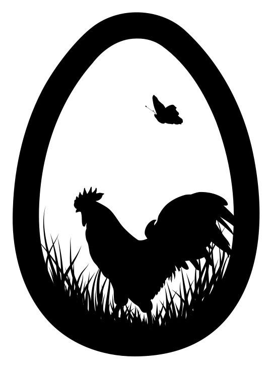 Наклейка «Петух и бабочка»