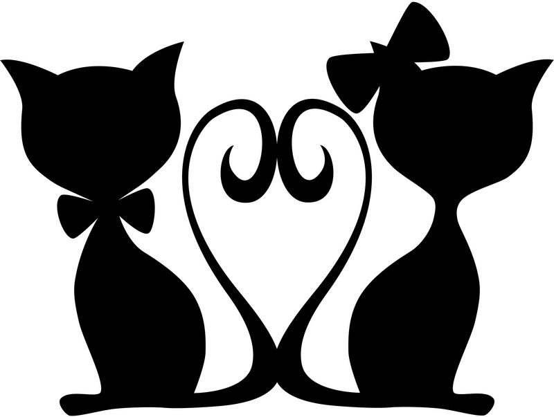 Наклейка «Влюблённые коты и сердце»Любовь<br><br>
