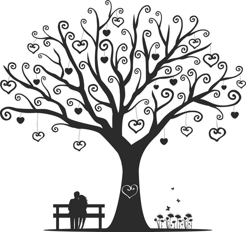 Наклейка «Сердечки на ветвях»Любовь<br><br>