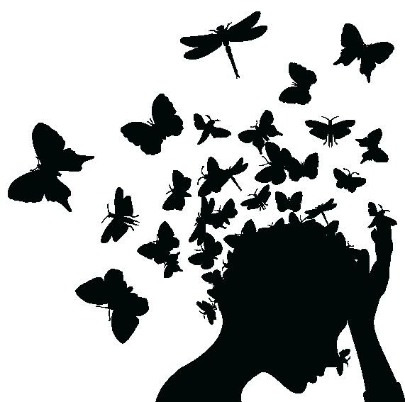 Наклейка «Бабочки в голове»Люди<br><br>