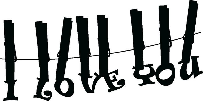 Наклейка «Любовь и прищепки»Надписи<br><br>