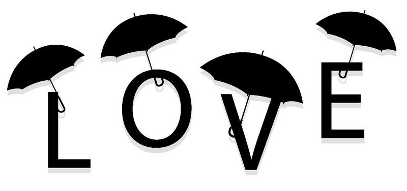 Наклейка «Любовь и зонтики»Надписи<br><br>