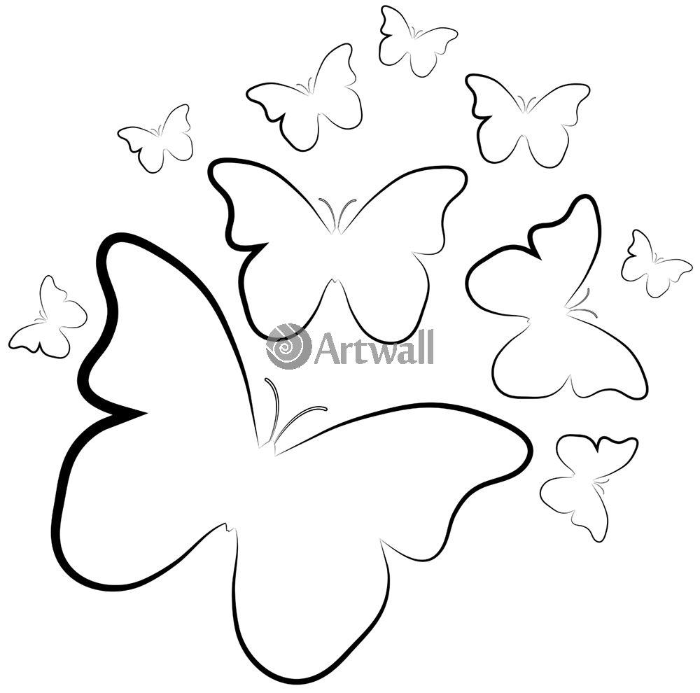 Наклейка «Эскизные бабочки»Насекомые<br><br>