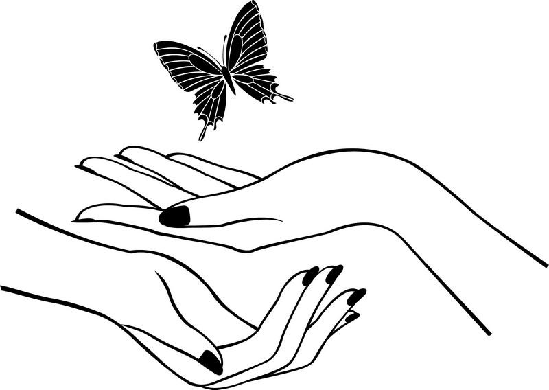 Наклейка «Руки и бабочка»Насекомые<br><br>