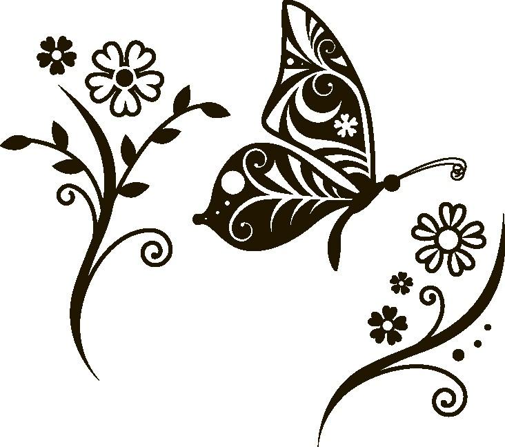 Наклейка «Бабочка и цветы»Насекомые<br><br>