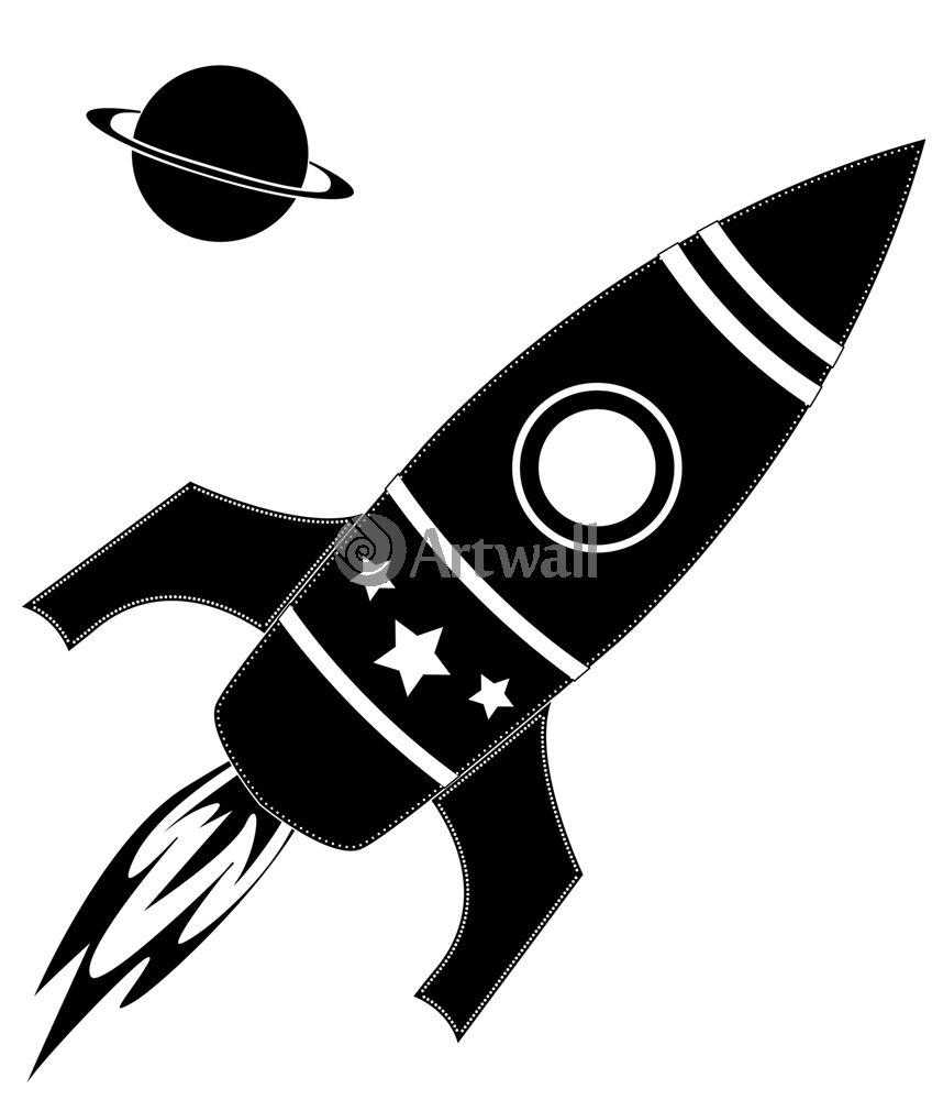 Наклейка «Ракета и Сатурн»Транспорт<br><br>