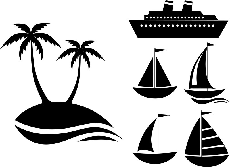 Наклейка «Корабль и парусники»Транспорт<br><br>