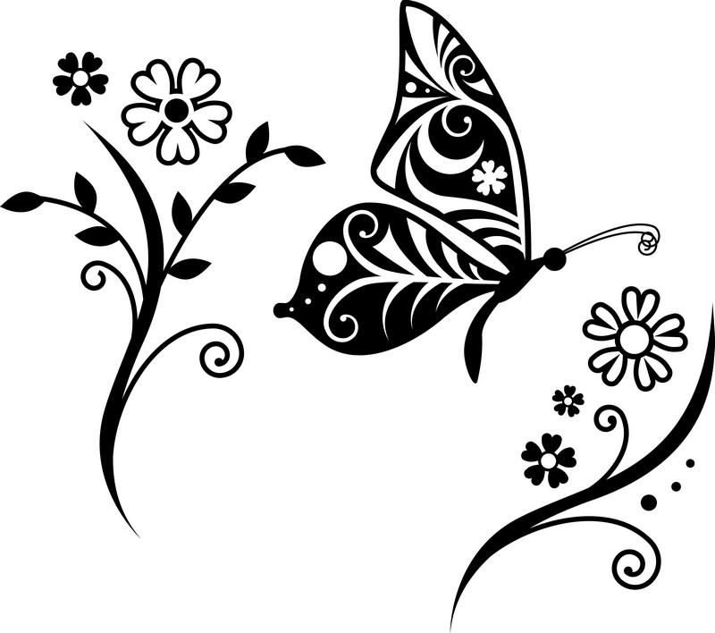 Наклейка «Бабочка на цветке»Цветы<br><br>