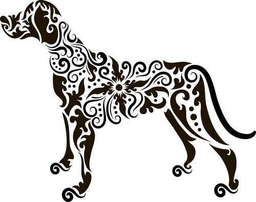 Наклейка «Собака в узорах»