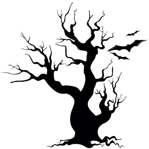Наклейка «Дерево и летучие мыши»