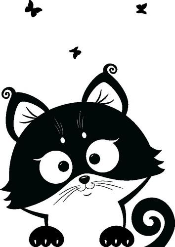 Наклейка «Котёнок и бабочки»Детские<br><br>
