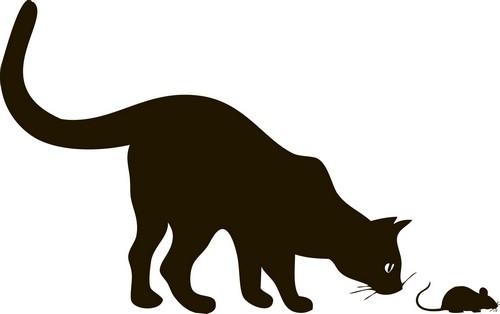 Наклейка «Кошка и мышка»Животные и птицы<br><br>