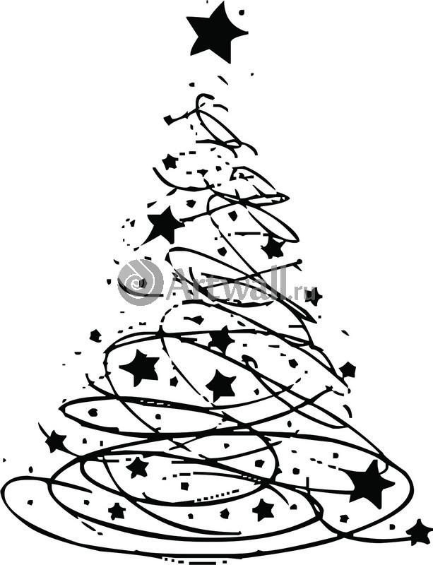 Наклейка «Ёлка и звёзды»Новогодние<br><br>