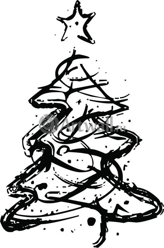 Наклейка «Ёлка со звездочкой»Новогодние<br><br>