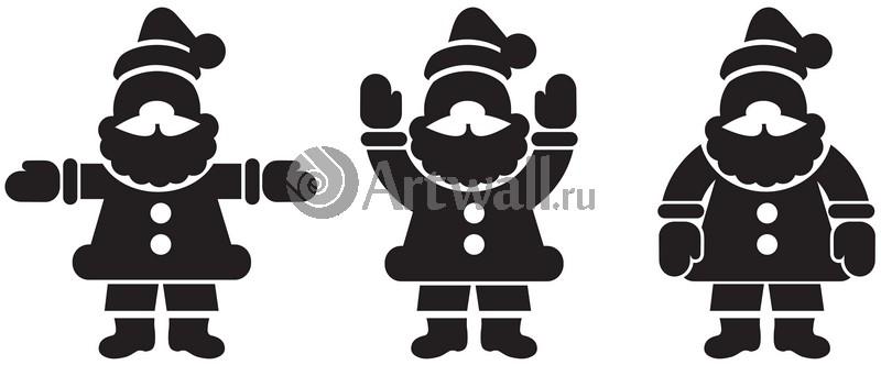 Наклейка «Три Санта-Клауса»Новогодние<br><br>