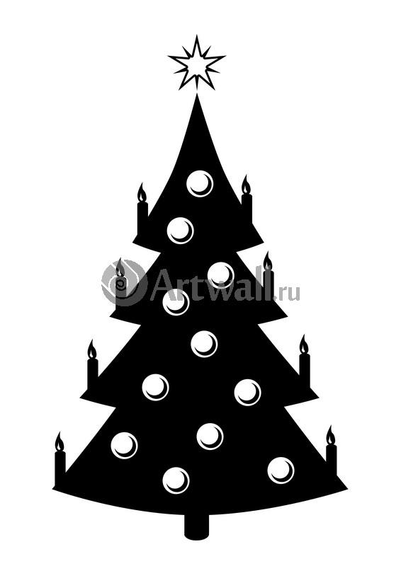Наклейка «Ёлка со свечами»Новогодние<br><br>