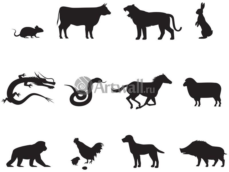 Наклейка «Дюжина животных»Новогодние<br><br>