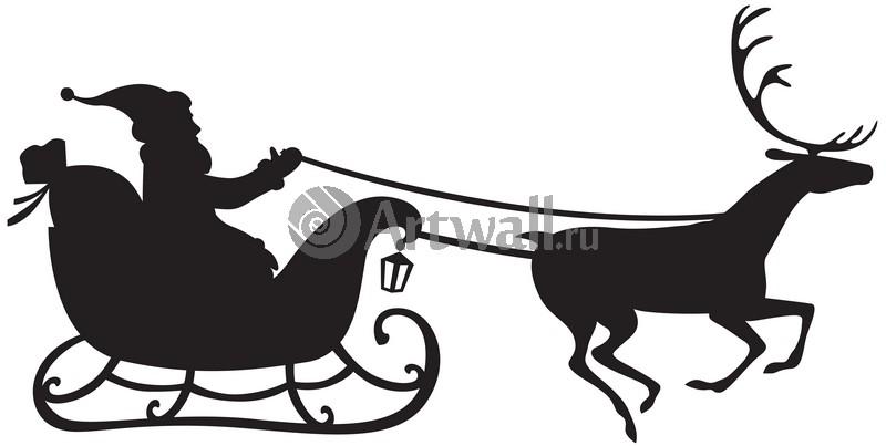Наклейка «Упряжка с одним оленем»Новогодние<br><br>