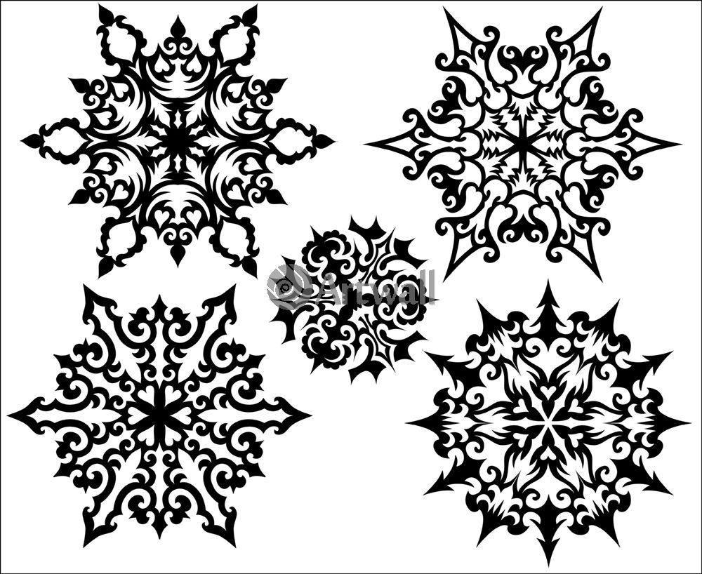 Наклейка «Пять снежинок»Новогодние<br><br>