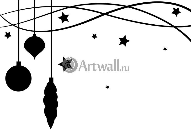 Наклейка «Ёлочные игрушки и звёздочки»Новогодние<br><br>