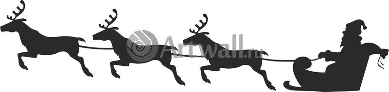 Наклейка «Упряжка из трёх оленей»Новогодние<br><br>