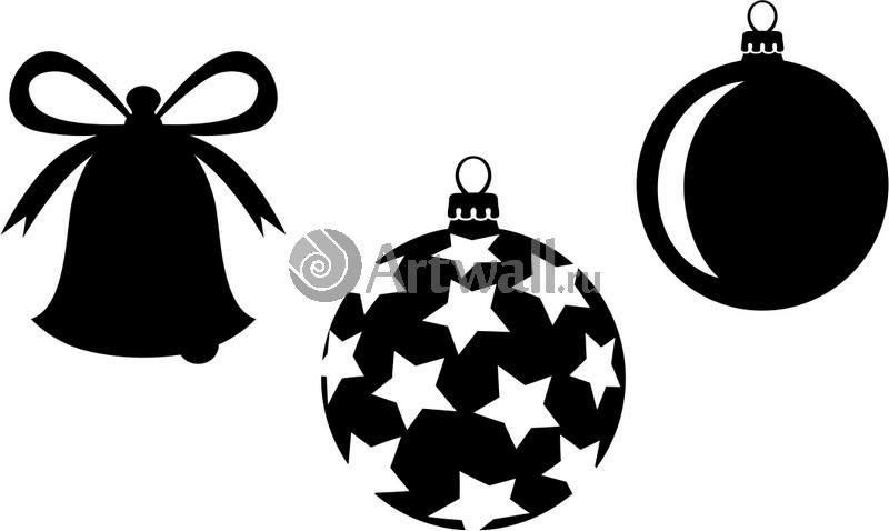 Наклейка «Три ёлочных игрушек»Новогодние<br><br>