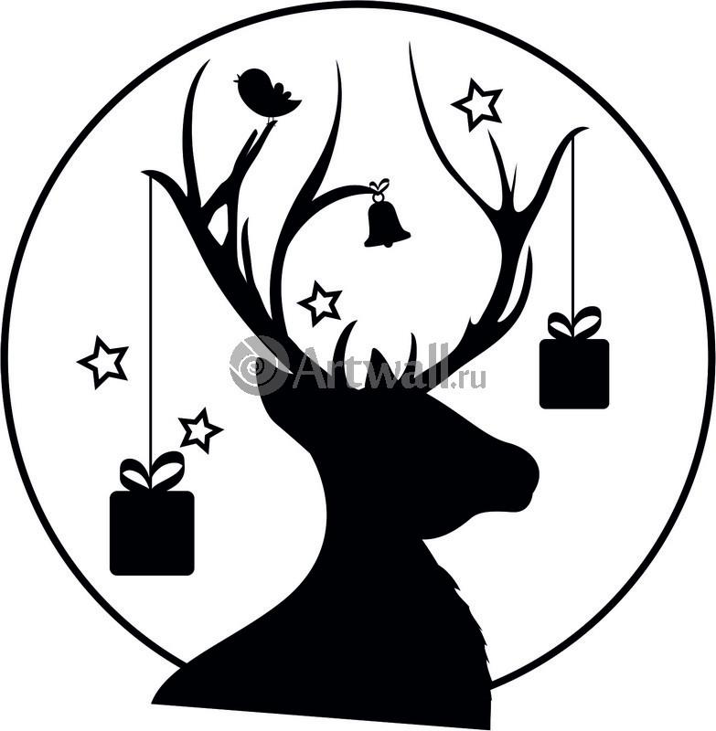Наклейка «Олень с подарками»Новогодние<br><br>
