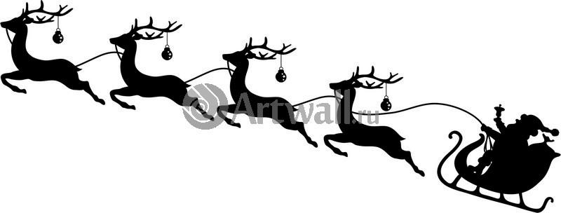 Наклейка «Упряжка Санты»Новогодние<br><br>