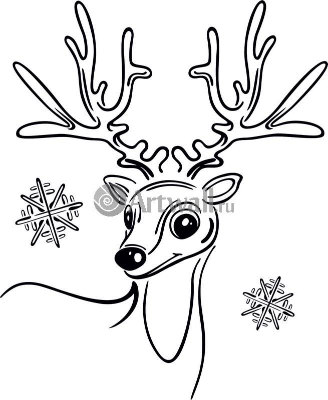 Наклейка «Олень и снежинки»Новогодние<br><br>