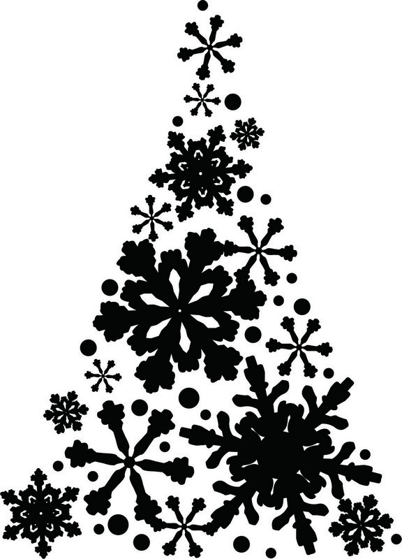 Наклейка «Ёлочка в снежинках»Новогодние<br><br>