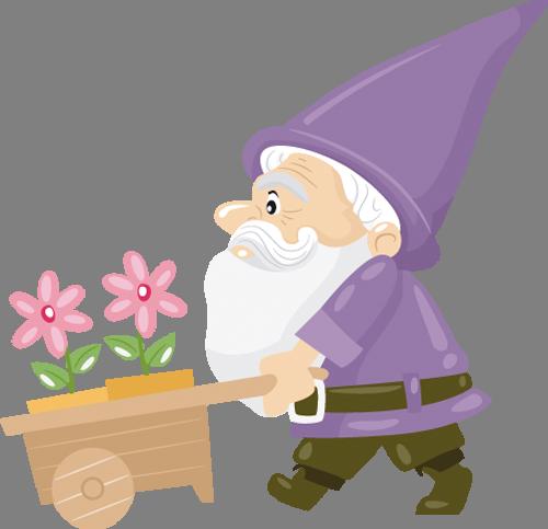 Наклейка «Гномик с цветами»Волшебные существа<br><br>