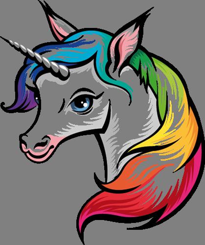 Наклейка «Единорог с цветной гривой»