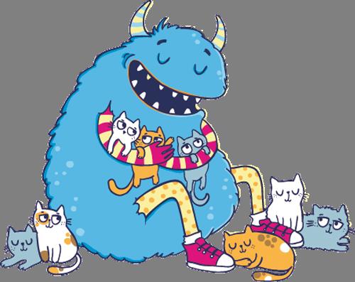 Наклейка «Котята и чудовище»