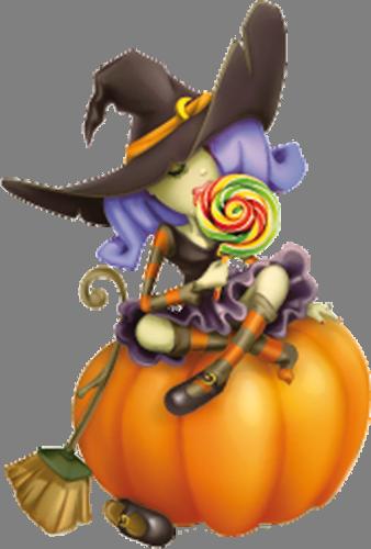 Наклейка «Ведьмочка на тыкве»