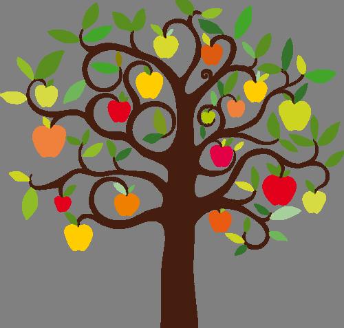Наклейка «Разноцветные яблоки»