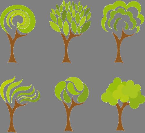 Наклейка «Шесть салатовых деревьев»