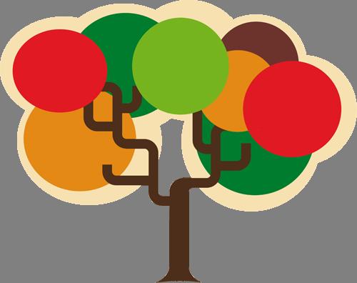 Наклейка «Разноцветное дерево»