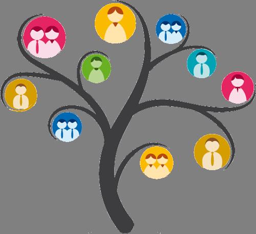 Наклейка «Дерево и люди»